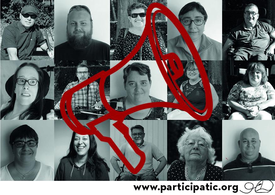 Visuel d'illustration du colloque avec des photos de représentants concernés par le handicap